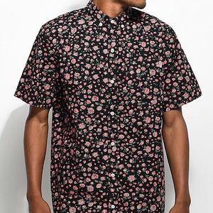 XL Dravus Black Floral Short Sleeve Button Up